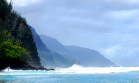 Shoreline of the Napali coast of Kauai Hawaii